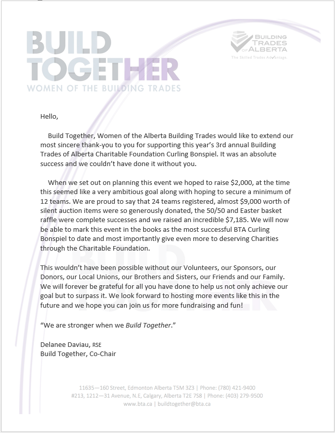 Thank You from the Build Together Team